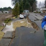 Lateral spreading at Sunset Lake trailer park in Tumwater.