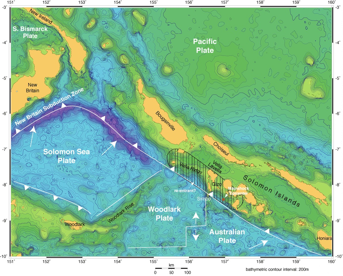 plate tectonics of the solomon islands region single white arrows showdirection of downgoing plate toward pacific plate double diverging arrowsshow . plate tectonics of the solomon islands region single white arrows