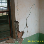Damage of school brick building.