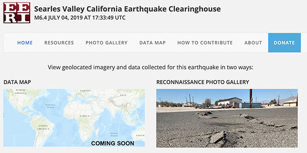 Searles Valley earthquakes virtual clearinghouse