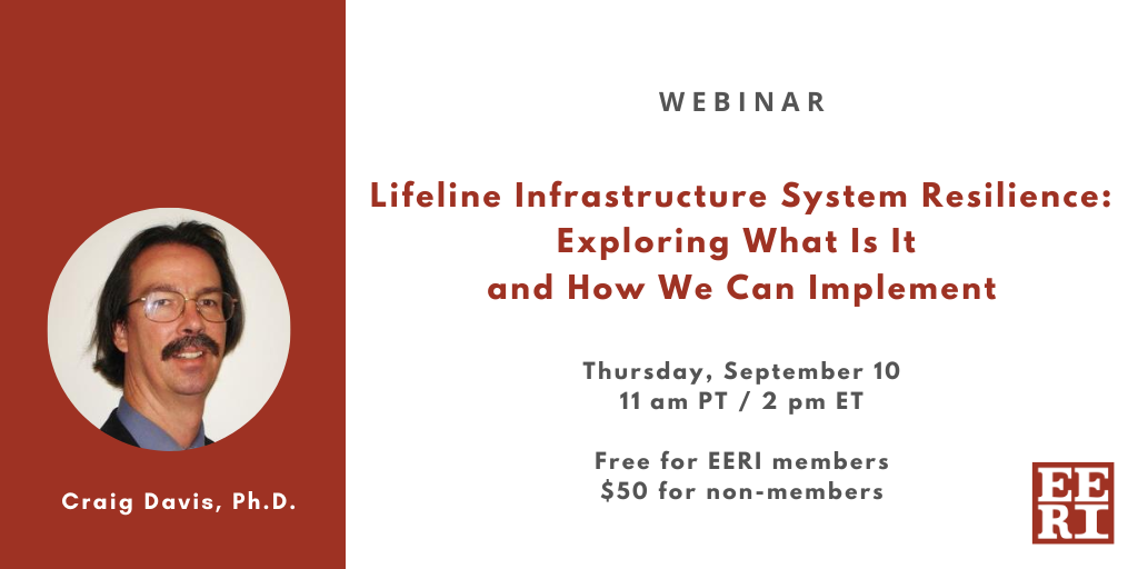 Webinar: Lifeline Infrastructure System Resilience – Exploring What Is It and How We Can Implement