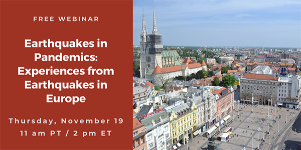 Webinar: Earthquakes in Pandemics – Experiences from Earthquakes in Europe