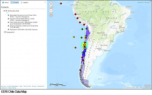 EERI Earthquake Clearinghouse Data Map for 2015 Illapel, Chile Earthquake