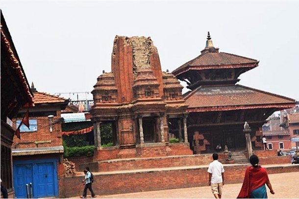 Damage to heritage sites in Kathmandu, Bhaktapur, and Patan is less than some media reports have implied, but still significant. Nearly 750 monuments were damaged by the April 25, 2015 earthquake and its aftershocks, with approximately half collapsed. (Photo by EERI team member Suraj Shrestha.)