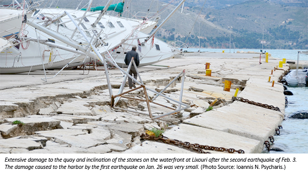 earthquake damaged waterfront in Cephalonia, Greece