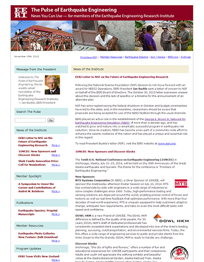 November 15, 2013 issue of The Pulse of Earthquake Engineering, EERI's email newsletter