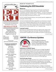 cover image of EERI September 2013 newsletter